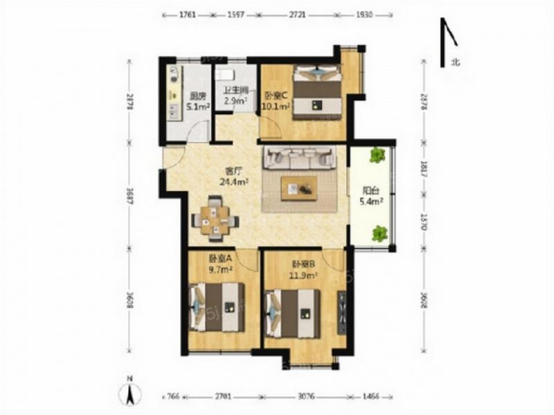 3室2厅 户型 95 面积(平米) 押2付3 支付方式 小区:保利罗兰春天 楼层